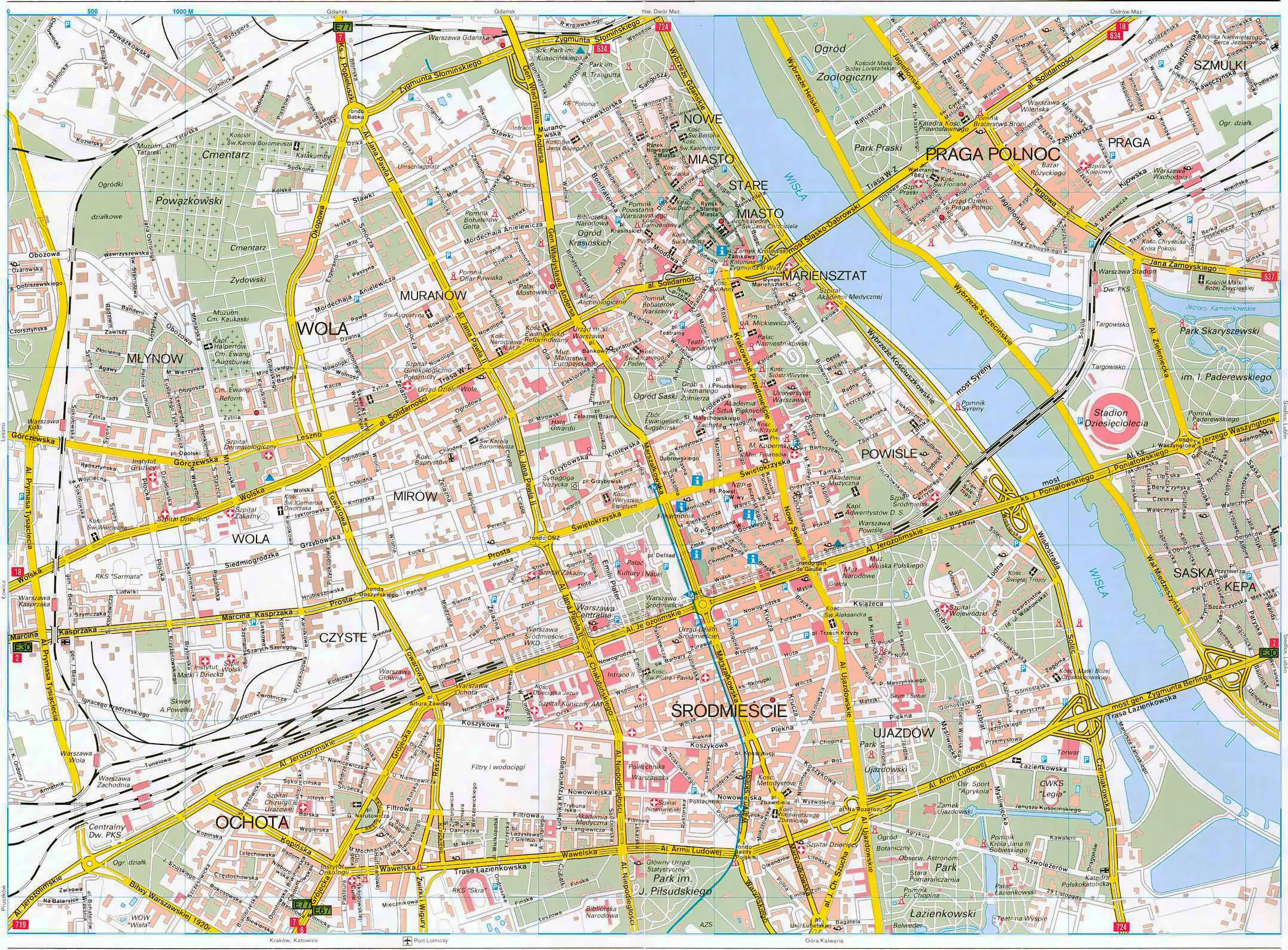 detailed road map of warsaw city center