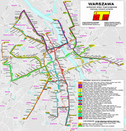Detailed tram communication map of Warsaw city.