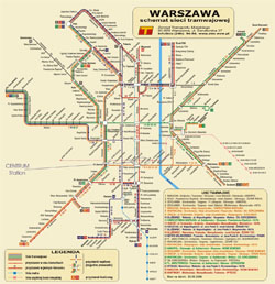 Detailed tram map of Warsaw city.