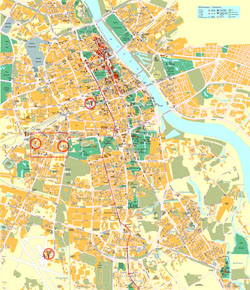 Large detailed road and tourist map of Warsaw city center with buildings.