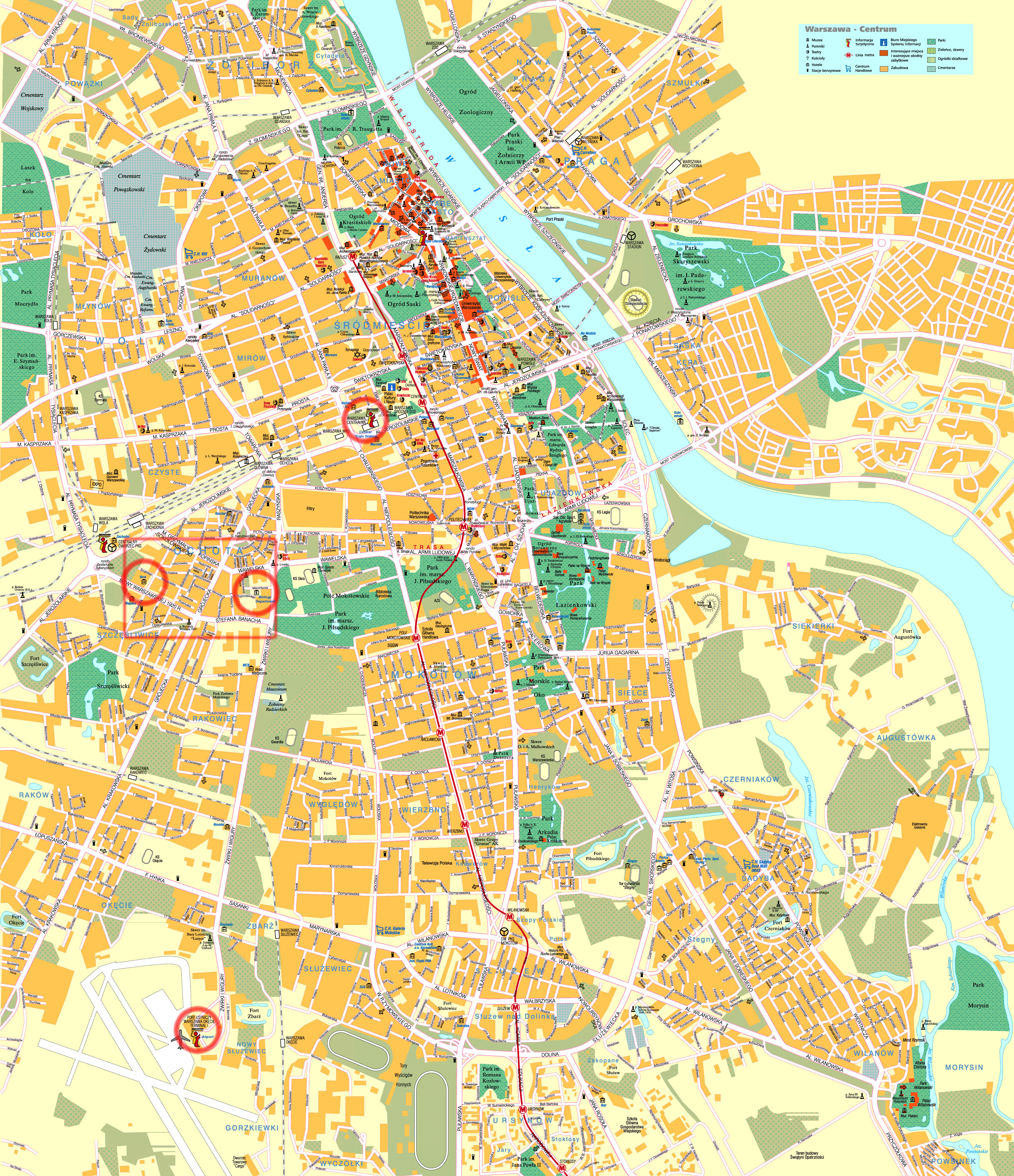 Maps of Warsaw Detailed map of Warsaw in English Maps of Warsaw