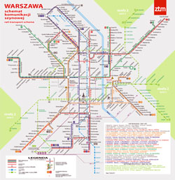 Large detailed tram communication map of Warsaw city.