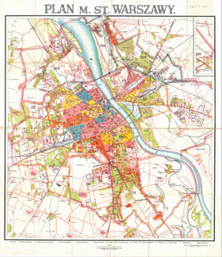 Large scale detailed old city plan of Warsaw - 1924.