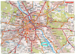 Road map of Warsaw city.
