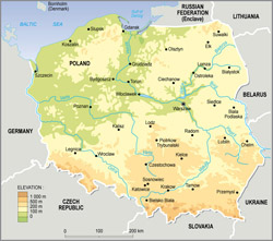 Physical map of Poland.