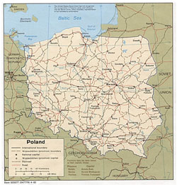 Political and administrative map of Poland.