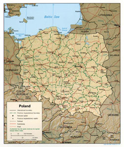 Political and administrative map of Poland with relief, roads and cities.
