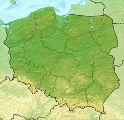 Relief map of Poland.