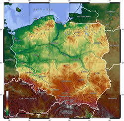 Topographical map of Poland.