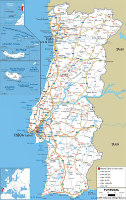 Detailed road map of Portugal with all cities and airports.