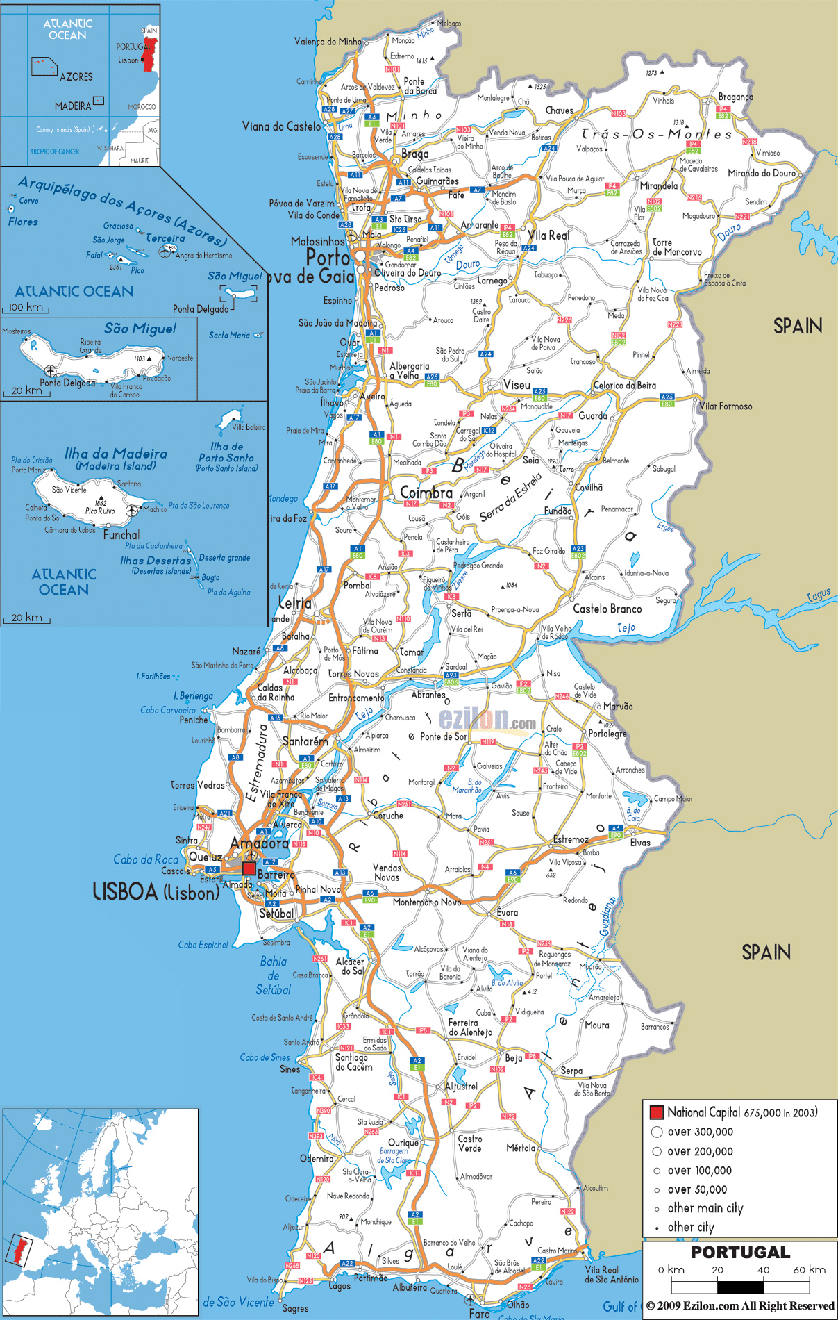 Maps Of Portugal Detailed Map Of Portugal In English Tourist - Portugal map