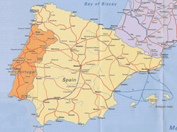 Highways map of Portugal and Spain.