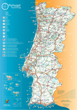 Large tourist map of Portugal.