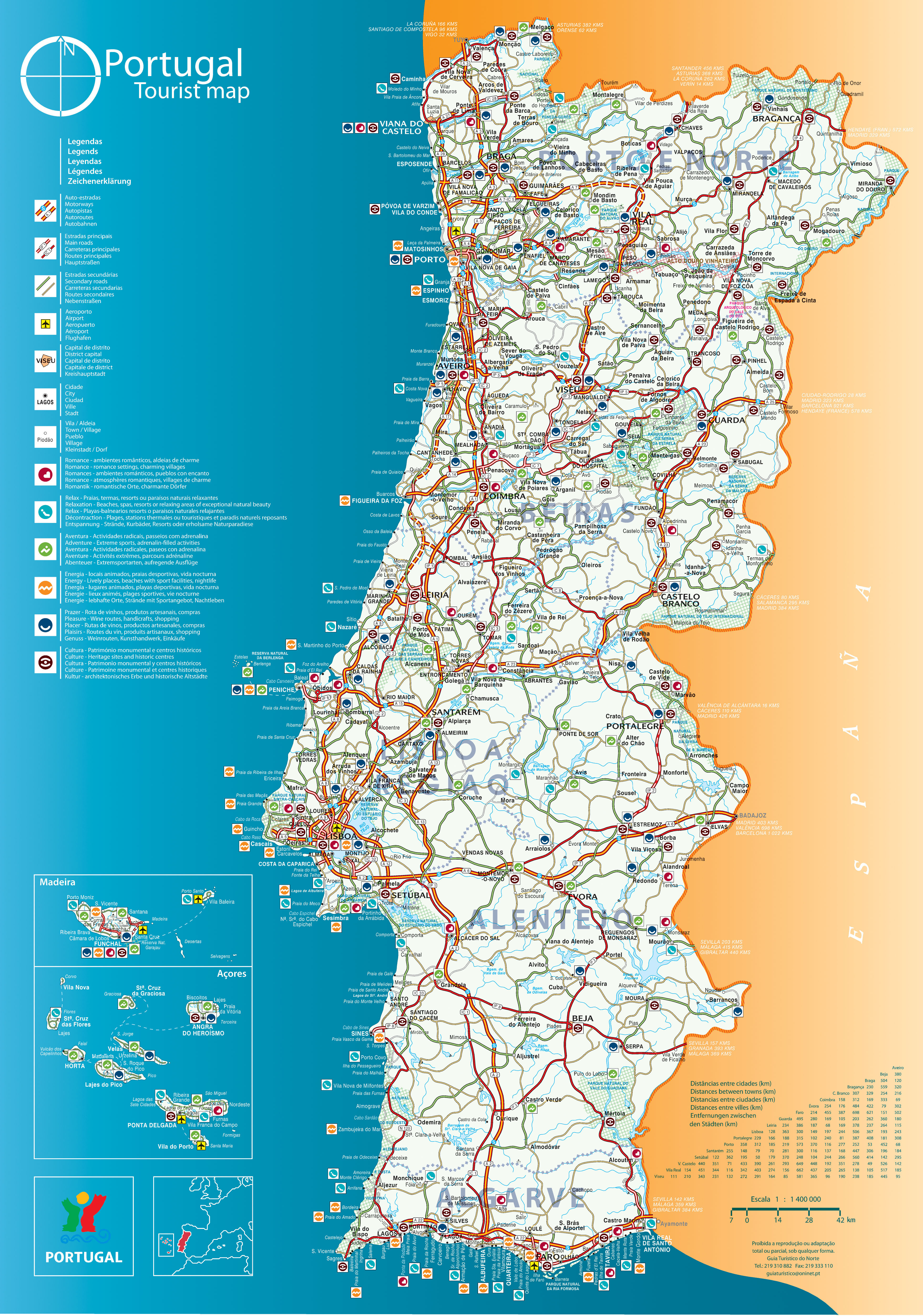 maps of portugal detailed map of portugal in english tourist map of portugal road map of. Black Bedroom Furniture Sets. Home Design Ideas