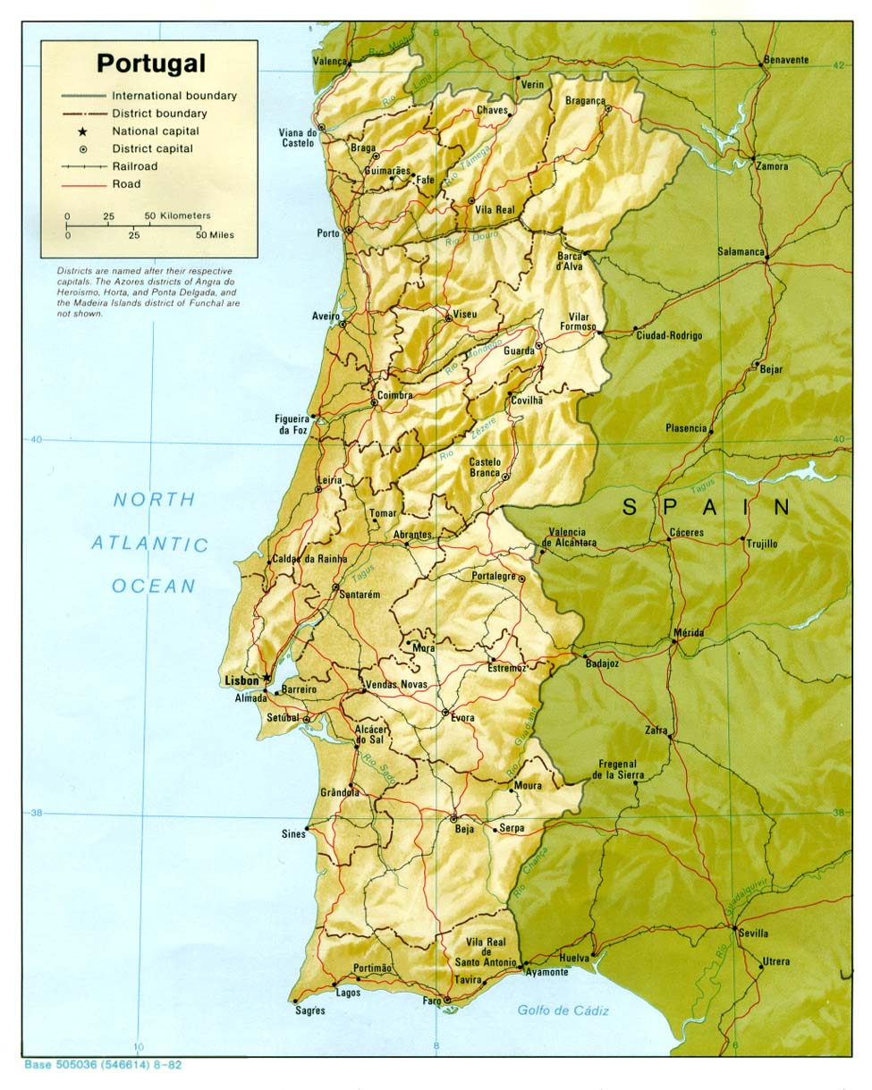 Maps Of Portugal Detailed Map Of Portugal In English Tourist - Portugal elevation map