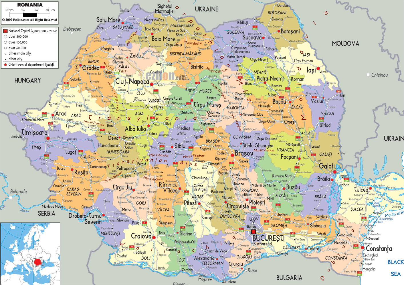 Maps of Romania Detailed map of Romania in English Tourist map