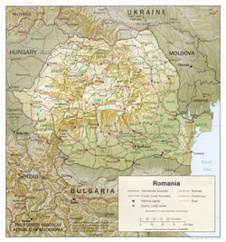 Political and administrative map of Romania with relief, roads and cities.