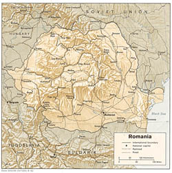 Political map of Romania with relief, roads and cities.