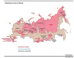 Detailed map of autonomous areas of Russia.
