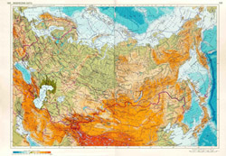 Detailed physical map of Russia.