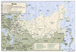 Detailed political and administrative map of Russia with major cities.