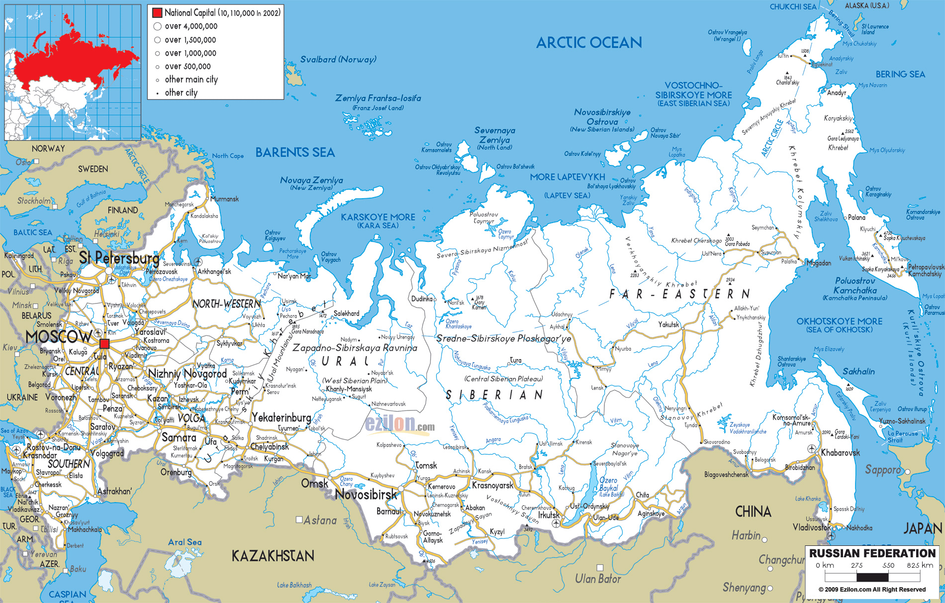 Maps Of Russia Detailed Map Of Russia With Cities And Regions - Map of russia with cities