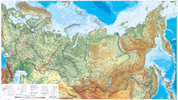 Large detailed physical map of Russia with roads and cities.