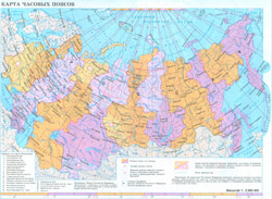 Map of time zones of Russia.