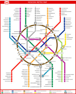 Detailed metro map of Moscow city in English.