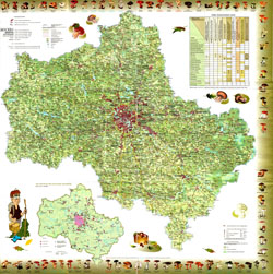 Detailed mushroom map of Moscow region.