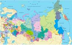 Regions map of Russia.