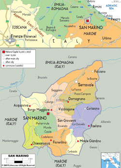 Detailed political and administrative map of San Marino with all roads and cities.