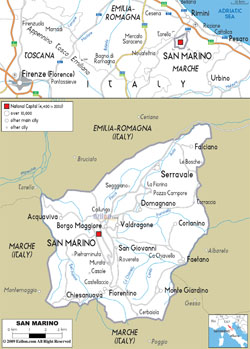 Detailed road map of San Marino with all cities.