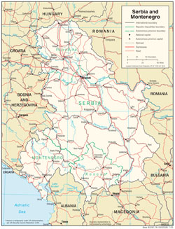 Detailed political and administrative map of Serbia and Montenegro with roads and cities.