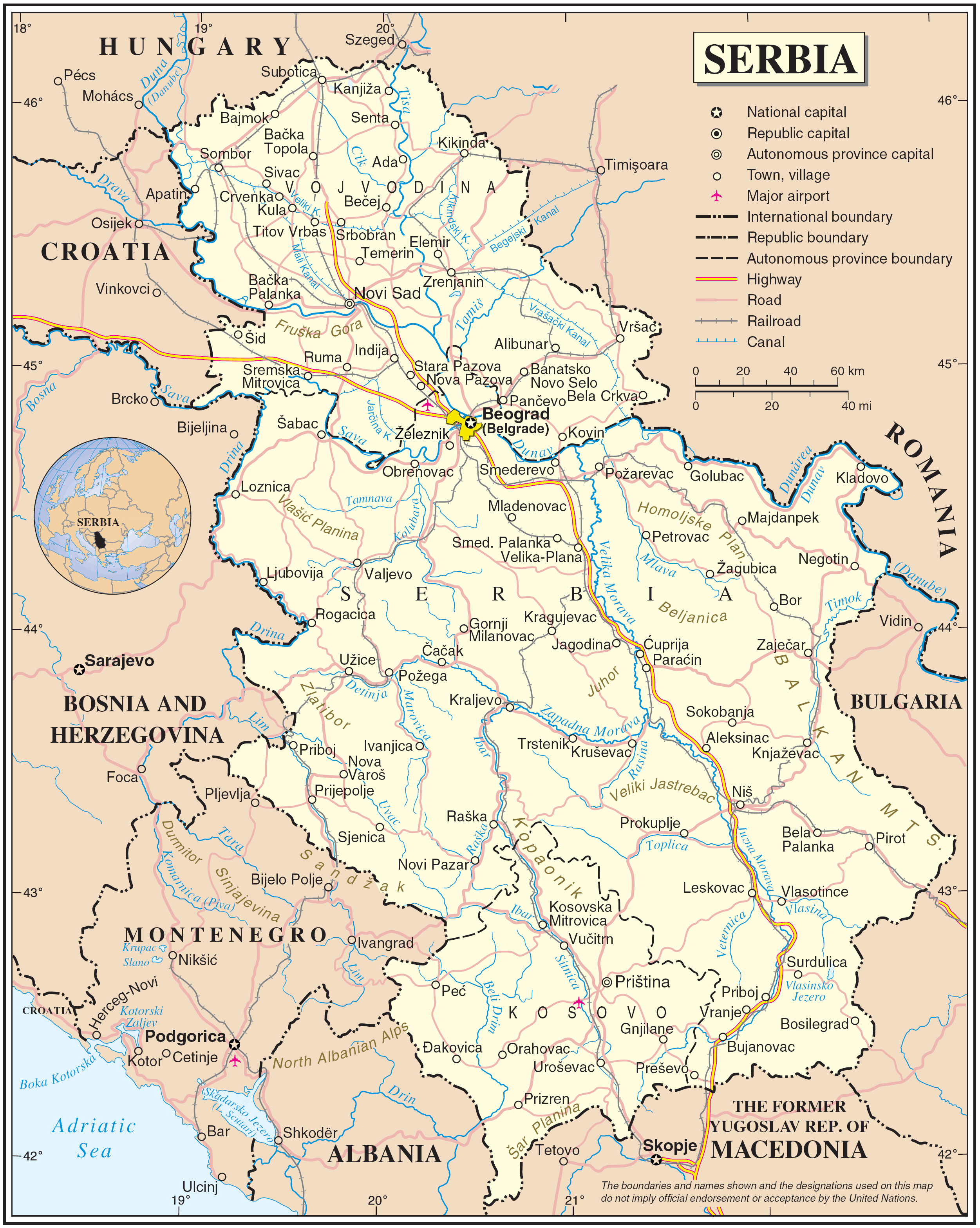 maps of serbia detailed map of serbia in english. Black Bedroom Furniture Sets. Home Design Ideas