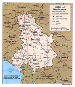 Political and administrative map of Serbia and Montenegro.