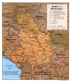 Political and administrative map of Serbia and Montenegro with relief, roads and cities.