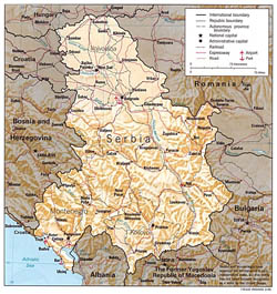 Political and administrative map of Serbia and Montenegro with relief.