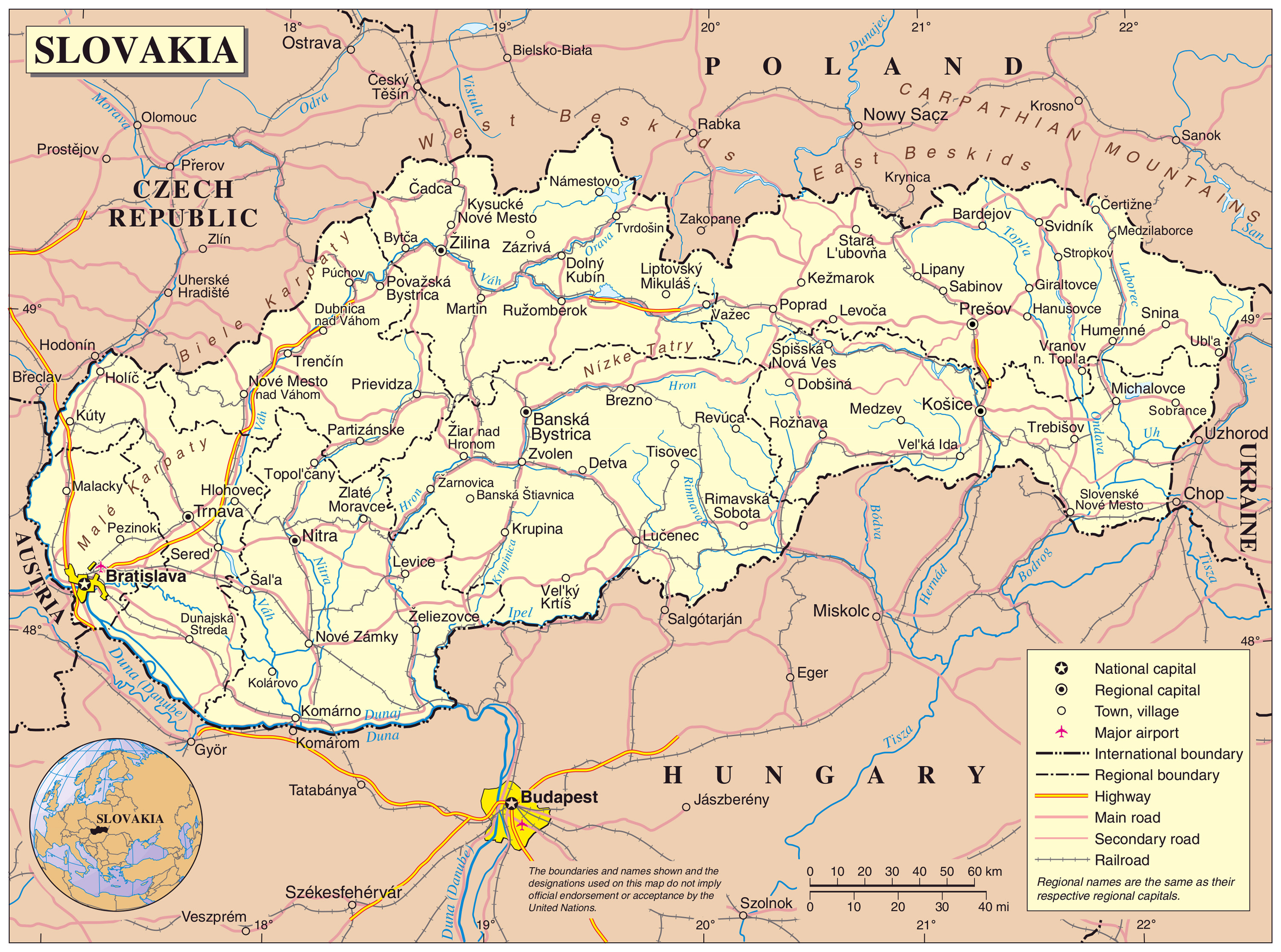Maps of Slovakia | Detailed map of Slovakia in English | Tourist map ...