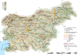 Detailed road and physical map of Slovenia.