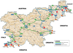 Large map of international corridors, highways and local roads of Slovenia.