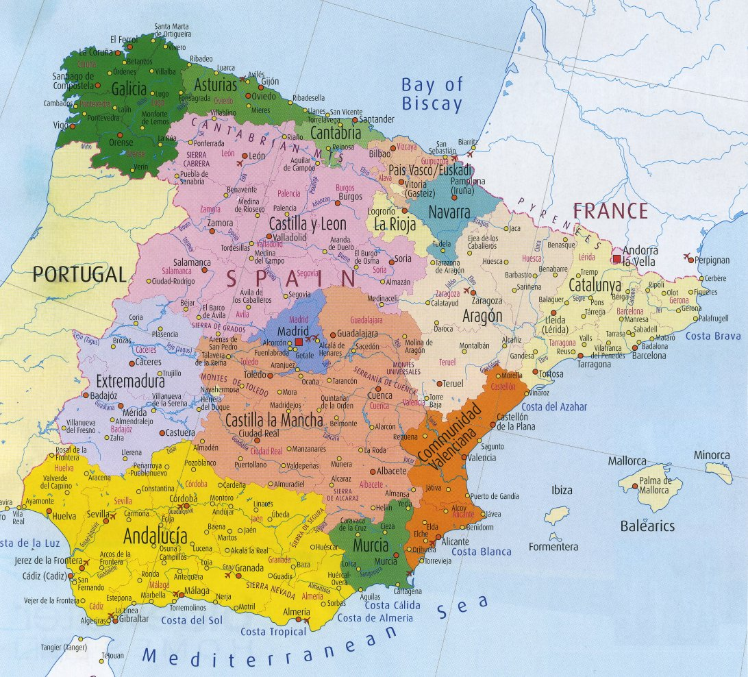Administrative map of Spain.