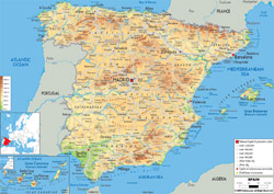 Detailed physical map of Spain with all roads, cities and airports.