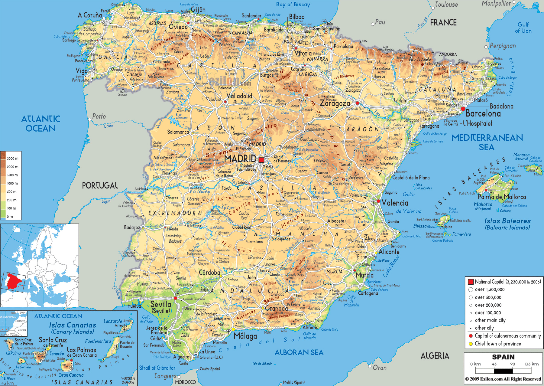 Detailed physical map of Spain ...
