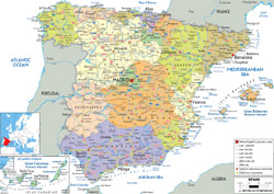 Detailed political and administrative map of Spain with all roads, cities and airports.