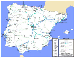 Detailed railroads map of Spain and Portugal.
