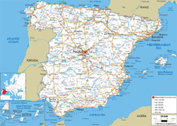 Detailed road map of Spain with all cities and airports.
