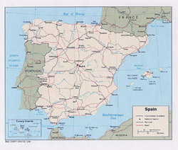 Political map of Spain.