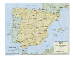 Political map of Spain with relief, roads and cities.