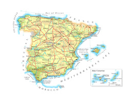 Road map of Spain with cities and airports.